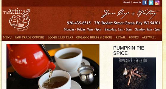 The Attic Coffeeshop in Green Bay - website design