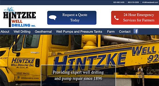 Hintzke Well Drilling website design