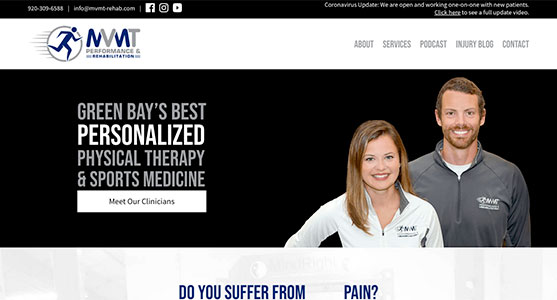 Green Bay WI Web design for MVMT Performance and Rehab