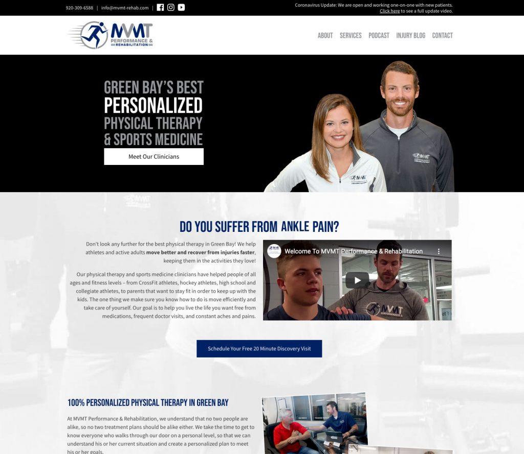 Green Bay Web Design Case Study: MVMT Performance & Rehab